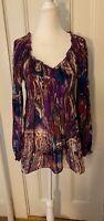 Vintage Boho Colorful Hippy Long Sleeve Top Size S/M