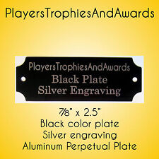 """7/8"""" x 2 1/2"""" Perpetual Name Plate Black - Silver engraving for perpetual plaque"""