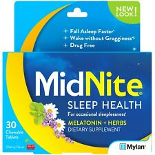 New MidNite Drug-Free Sleep Aid Chewable Tablets Cherry Flavor 30 Ct.