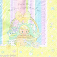 PRECIOUS MOMENTS Pink or Blue LUNCH NAPKINS (16) ~ Baby Shower Party Supplies