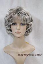Mode Femmes âgées Gris court bouclé cheveux Cosplay perruque de fête