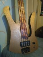 """OPEN TO TRADES Custom 4 String 35"""" scale Fretless Gold Top Electric Bass Guitar"""