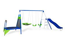 Backyard Metal Swing Set for 6 Kids Slide Trampoline Fun Safety Playset Outdoor