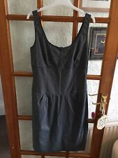 M&s Striped Dress Size 12 Navy Blue