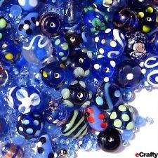 50X Assorted Blue Floral Crystal Glass Beads Jewelry Findings