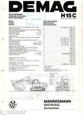 DEMAG richier pelle hydraulique H 15 C technique données prospectus!
