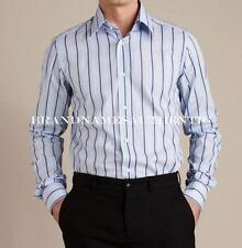 Dolce & Gabbana Italy Men Fitted Striped Dress Shirt Light Blue NEW 16,5 42 $250