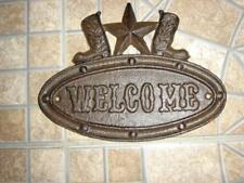 """Cast Iron """"WELCOME"""" Plaque  Rustic Boots & Star Decorative 8"""" X 6"""" Collectible"""