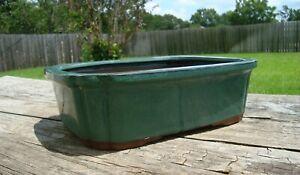 Vintage Rectangular Glazed Clay Footed Bonsai Pot Succulent Planter 2 drains