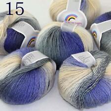 Sale Soft Cashmere Wool Colorful Rainbow Wrap Shawl DIY Hand Knit Yarn 50grx6 15