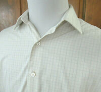 Brooks Brothers GOLDEN FLEECE Mens 16.5/34 Ivory Checked L/S Button Front SHIRT