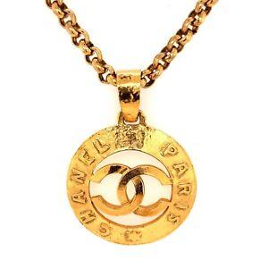 CHANEL Vintage 1991 Collection 28 Gold Plated Chain Necklace W/ CC Paris Pendant