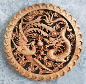 Dragon and Phoenix  Auspicious Wall Decoration of Chinese Woodcarving Art