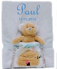 Babydecke mit Namen bestickt + Spielzeug Plüsch-Bär Geschenk Baby Taufe Geburt