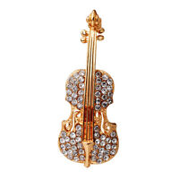 New Women Gold Silver Plated Crystal Violin Scarf Brooches Rhinestone Brooch WH