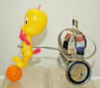 Vintage 1960s Folk Art Hand Made Tweety Bird on a Tricycle Toy