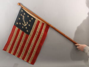 RARE Unique 13 Star Pattern, Private Yacht Ensign American Flag & Ship's Staff