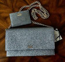 NWT Kate Spade Ash Silver Glitter Brennan Clutch Crossbody With Card Case Wallet