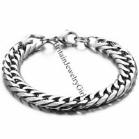 "8.7"" Men's Stainless Steel Curb Chain Link Bangle Bracelet Wristband Silver 10MM"