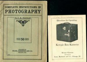 Lot of 2 Antq/Vtg Early Photography/Box Camera Paper Ephemera Sears Roebuck
