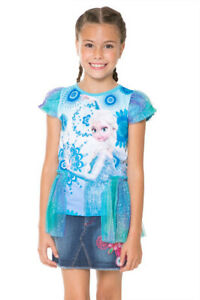 Desigual Frozen Girls Snowflake T-Shirt Top Elsa Blue Size 7 8 9 10 13 14 years
