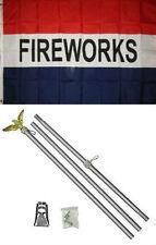 3x5 Advertising Fireworks Red White Blue Flag Aluminum Pole Kit Set 3'x5'