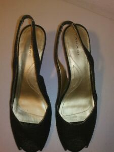 "Tahari Black Leola Slingback Open Peep Toe 3"" Cork Wedge Sandals Size 10M"