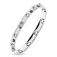 """Mens Tungsten Carbide Chain Bracelet with 7mm Square Link Length: 8.27"""""""
