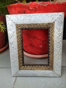Antique Silver Plated Brass Embossed Design Wooden Hand Crafted Picture Frame