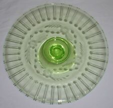 """Etched Vaseline Green Glass Pedestal Cake Dish 9-7/8"""" wide by 2-1/4 high"""