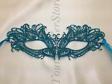 Teal Butterfly Lace Masquerade Ball Mask Mardi Gras Halloween Classic Mask