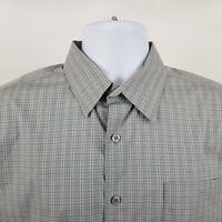 Theory Mens Gray Blue Check L/S Dress Button Shirt Sz Large L