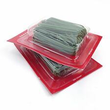 200 count Large Ornament Hooks 2.5 inch long green plastic coated wire hooks