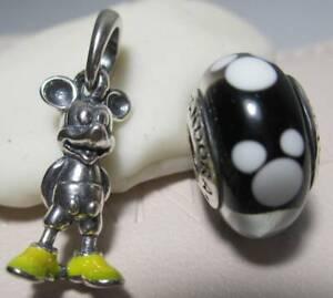 Pandora Disney Classic Mickey Pendant Charm Yellow Enamel Boot Glass Bead Pouch