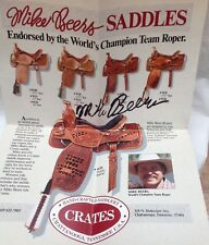 Western Saddle Crates Signed Poster Mike Beers Team Roper World Champion