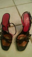Authentic vintage Prada open toes strap heel black leather pink stitches 37.5