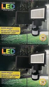 2-Bright LED Solar PoweredSensor Security Flood Light Motion Outdoor Garden Lamp