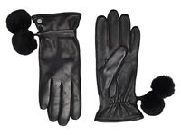 UGG 241733 Womens Pom and Leather Cold Weather Tech Gloves Black Size Medium