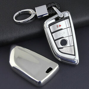 For BMW Silver Soft Shell Smart Key Fob Case Chain Cover F45 F46 G20 G21 G30 G31