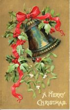Antique Postcard 1906 P Sander NY Merry Christmas EMBOSSED BELL Postally Used