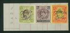 SOUTH AFRICA - 1912 Interprovisional KEVII revenue stamps on piece (ME658)*