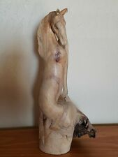 """Beautiful Hand Carved Horse Sculpture Natural Burl Wood 11"""" Made in Indonesia"""