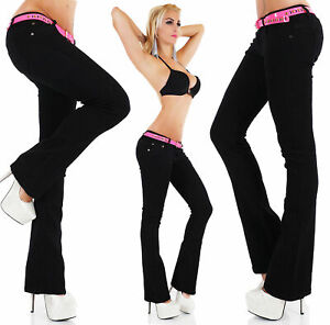 Women's hipster Bootcut stretchy Jeans Pants Trousers Black  Sizes UK 6 - 14