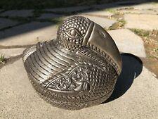 Antique 900 Silver Hammered Cambodia Khmer Bird Betel Nut Opium Box 477.6 Grams
