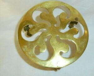 ANTIQUE VICTORIAN CAST BRASS STOVE TRIVET STAND THREE LEGGED