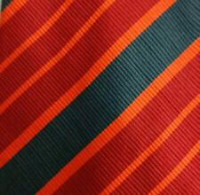 Red Green Striped Silk Tie