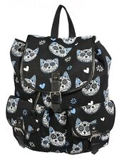 Banned Sugar Skull Kitty Cat Gothic Backpack School Bag Tatoo Biker Waterproof