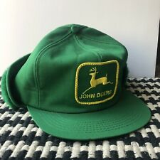 vintage John Deere green hat made in usa fold lined