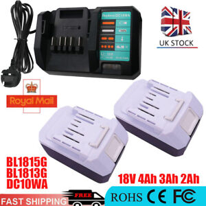 4Ah 18V Battery for Makita 3Ah 2Ah BL1813G BL1815G 198186-3 HP457 DC18WA Charger