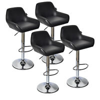 Set Of 4 Bar Stools Leather Height Adjustable Swivel Kitchen Pub Dining Chairs